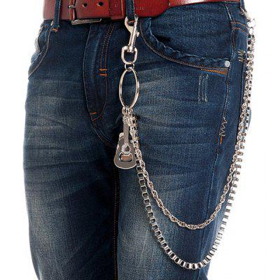 Stylish Guitar Shape Embellished Two Layered Trouser Chain For Men
