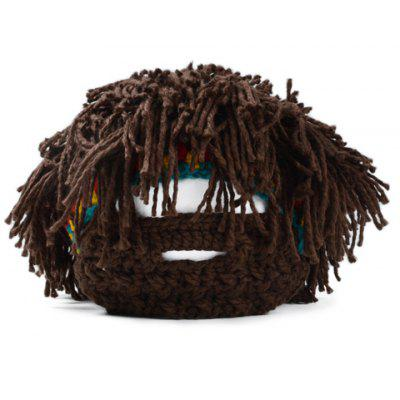 Chic Wig and Beard Decorated Knitted Beanie For Men woolen yarn imitated wig knitted beard face hat for men and women