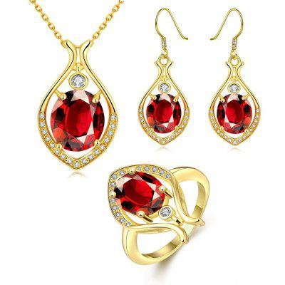 S103-A Classic  Drop Shape Earrings Ring Necklace Jewelry Sets