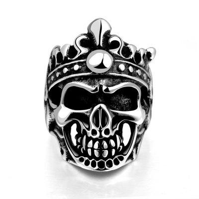 Buy SILVER GRAY 10 R194 Unique Star Celebrity Men Styles Skull Ring for $5.93 in GearBest store