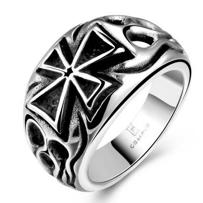 Buy SILVER GRAY 11 R176 Vintage Style Cross Design Stainless Steel Ring for $5.71 in GearBest store