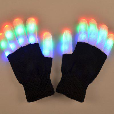 Chic Pair Of Cotton Material 7-Mode Colorful Changing LED Finger Lighting Flashing Gloves