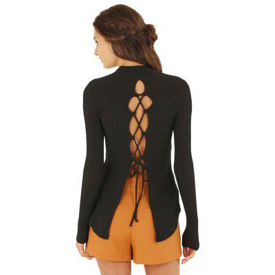 Stylish Tutleneck Long Sleeve Pure Color Hollow Out Criss Cross Ladies Blouse