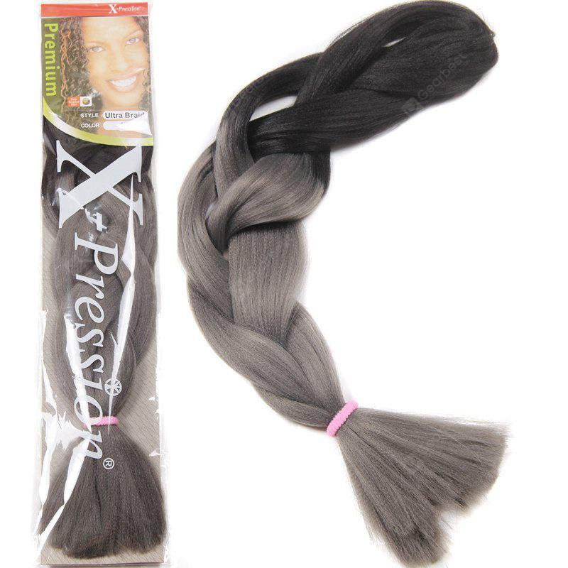 Charming Long Heat Resistant Fiber Trendy Black Gray Ombre Braided Hair Extension For Women