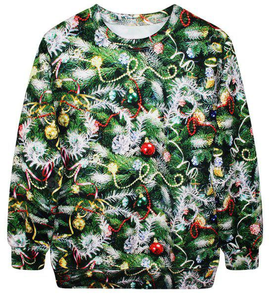 Stylish Round Neck Long Sleeve Bell and Tree Print Women's Christmas Sweatshirt