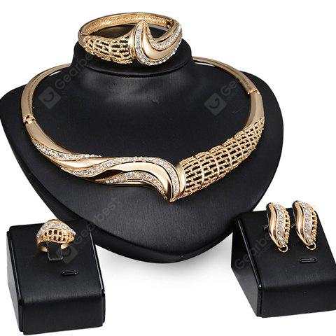 A Suit of Chic Rhinestone Hollow Out Necklace Ring Bracelet and Earrings For Women