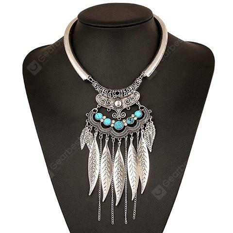 Ethnic Hollow Out Leaf Tassel Torque For Women