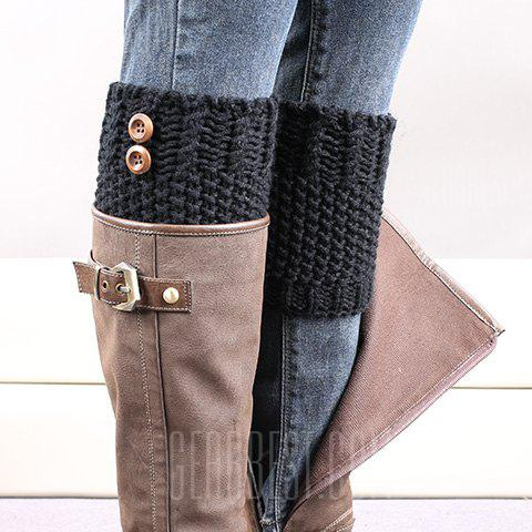 Buy Pair Chic Button Embellished Crochet Knitted Boot Cuffs Women BLACK