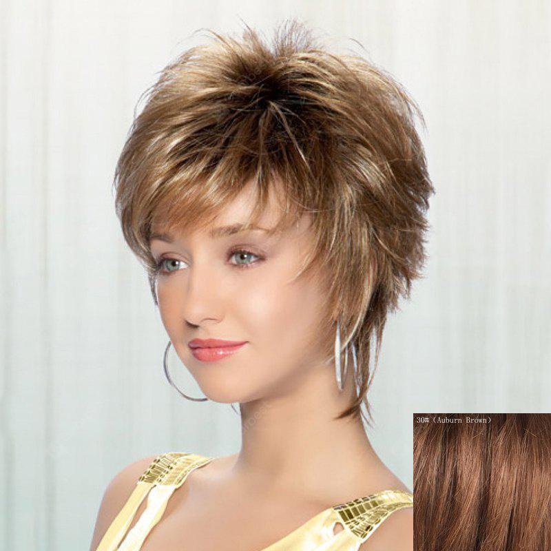 Ladylike Inclined Bang Spiffy Short Capless Fluffy Wavy Real Natural Hair Wig For Women