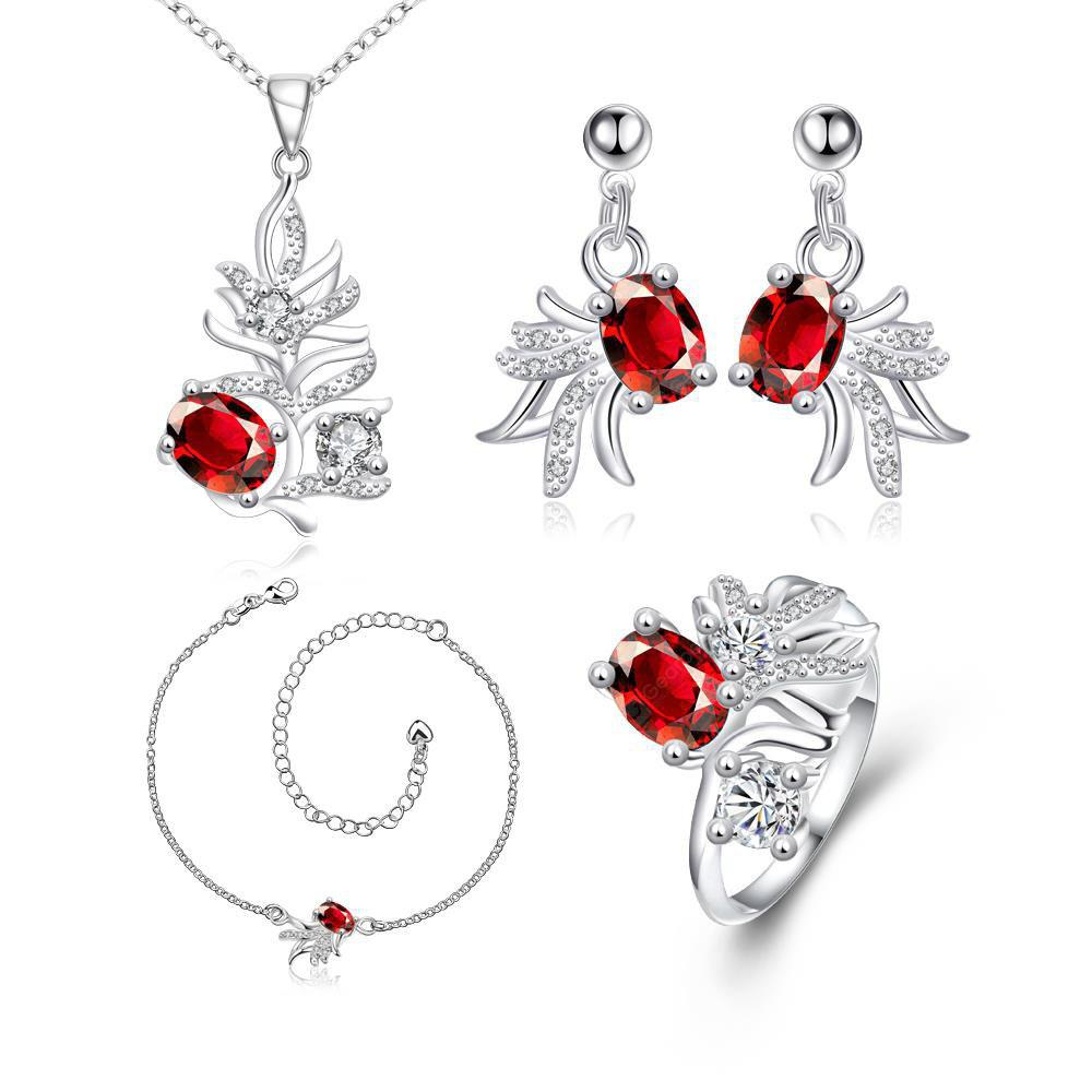 S145-B Popular 925 Silver Plated Earrings Ring Necklace Anklet Jewelry Sets