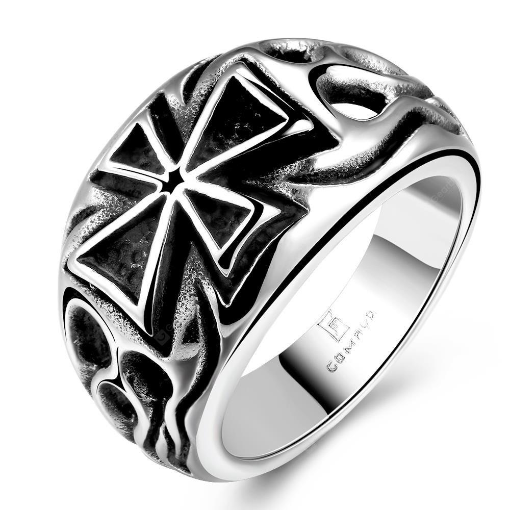 SILVER GRAY 8 R176 Vintage Style Cross Design Stainless Steel Ring