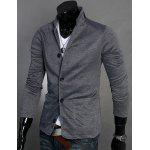 Buy Stand Collar Splicing Design Long Sleeve Slimming Cotton Blends Men's Blazer XL DEEP GRAY