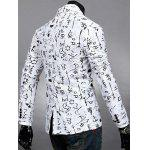 Buy Lapel Symbol Print Design Long Sleeve Slimming Cotton Blends Men's Blazer 2XL WHITE