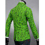 Buy Lapel Symbol Print Design Long Sleeve Slimming Cotton Blends Men's Blazer 2XL GREEN