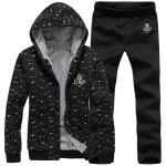 Buy Hooded Paint Dot Print Anchor Embroidery Long Sleeve Men's Sherpa Hoodie Suit(Hoodie+Pants) 2XL BLACK
