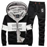 Buy Hooded Letter Print Splicing Design Long Sleeve Men's Sherpa Hoodie Suit(Hoodie+Pants) L BLACK