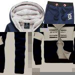 Buy Hooded Letter Print Splicing Design Long Sleeve Men's Sherpa Hoodie Suit(Hoodie+Pants) L CADETBLUE