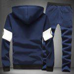 Buy Hooded Letter Print Splicing Design Long Sleeve Men's Sherpa Hoodie Suit(Hoodie+Pants) 3XL CADETBLUE