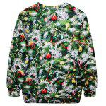 Stylish Round Neck Long Sleeve Bell and Tree Print Women's Christmas Sweatshirt - GREEN
