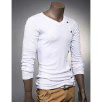 cheap V Neck Button Embellished Slimming Long Sleeve Men's T-Shirt