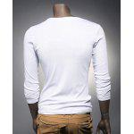 V Neck Button Embellished Slimming Long Sleeve Men's T-Shirt deal