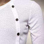best V Neck Button Embellished Slimming Long Sleeve Men's T-Shirt