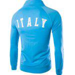 Zipper Pocket Stripes Spliced Italy Flag Letters Print Stand Collar Long Sleeves Men's Sweatshirt - LAKE BLUE