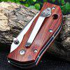 Enlan M027 Liner Lock Pocket Knife Wooden Handle - WINE RED