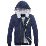 Buy Hooded Zipper Design Long Sleeve Men's Sherpa Hoodie Suit(Hoodie+Pants) 3XL BLUE
