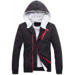 Buy Hooded Zipper Design Long Sleeve Men's Sherpa Hoodie Suit(Hoodie+Pants) 3XL BLACK