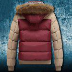 Buy Zipper Pocket Color Splicing Rib Hem Hooded Long Sleeves Men's Thicken Padded Coat COLORMIX