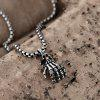 N049 Stainless Steel Vintage Pendant Necklace - SILVER GRAY