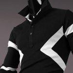 Hot Sale Turn-down Collar Color Block Triangle Spliced Slimming Long Sleeves Men's T-Shirt - BLACK