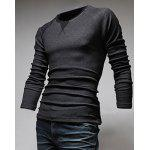 Classic Color Block Triangle Pattern Slimming Round Neck Long Sleeves Men's Linen Blended T-Shirt M DEEP GRAY