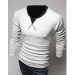 Classic Color Block Triangle Pattern Slimming Round Neck Long Sleeves Men's Linen Blended T-Shirt M LIGHT GRAY