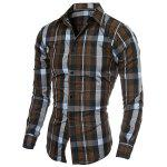 cheap Casual Turn-down Collar Color Block Checked Print Slimming Men's Long Sleeves Shirt