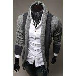 Turndown Collar Color Block Longline Cardigan - BLUE GRAY