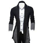 Turndown Collar Color Block Longline Cardigan - DEEP GRAY