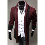 Turndown Collar Color Block Longline Cardigan - WINE RED