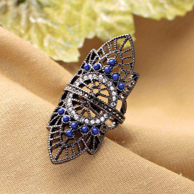 Buy BLACK GREY Retro Rhinestoned Hollow Out Leaf Ring for $2.55 in GearBest store