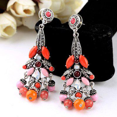 Pair of Retro Faux Crystal Rhinestone Round Bead Tassel Earrings