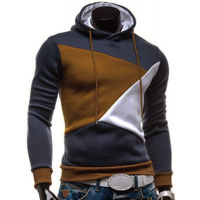 Irregular Color Lump Spliced Rib Hem Slimming Hooded Long Sleeves Men's Casual Hoodie