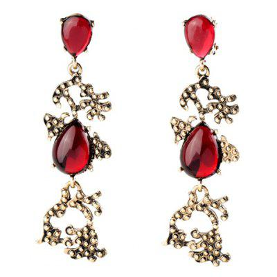 Pair of Retro Faux Ruby Water Drop Earrings For Women