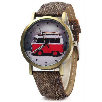Retro Style Male Quartz Watch with Bus Pattern
