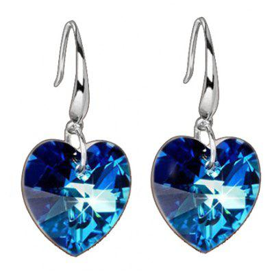 Pair of Trendy Faux Crystal Heart Shape Earrings For Women