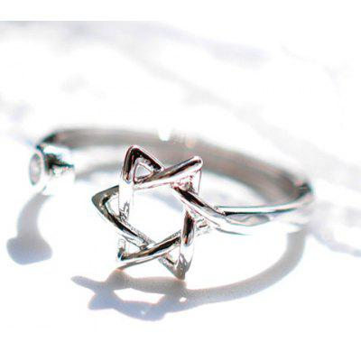 Chic Rhinestone Hexagram Hollow Out Cuff Ring For Women