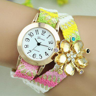 Geneva Diamond Ladies Quartz Watch Woven Woolen Wristwatch