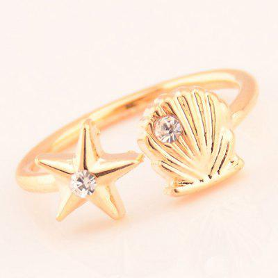 Exquisite Solid Color Star and Shell Cuff Ring For Women