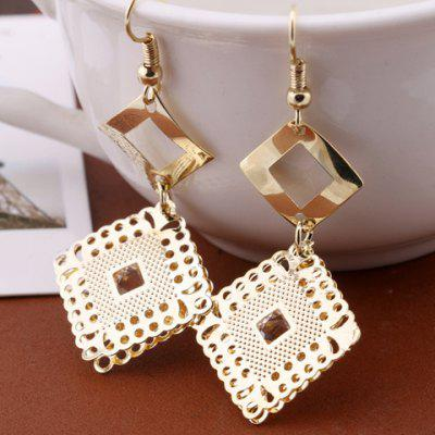 Pair of Graceful Solid Color Geometric Hollow Out Drop Earrings For Women