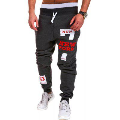 Lace-Up Letters and Number Print Beam Feet Men's Pants